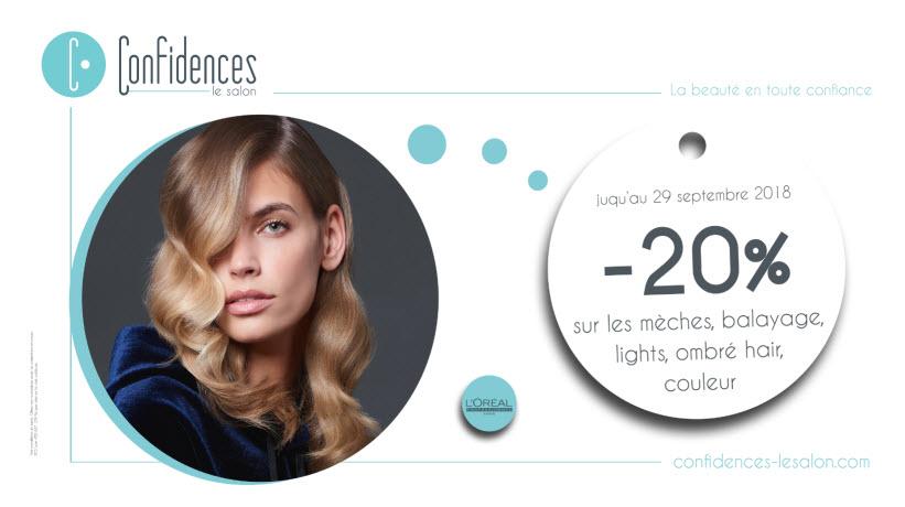 - 20% sur les mèches - balayage - lights - ombré hair - couleur