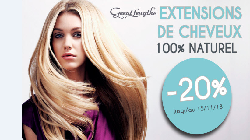- 20% Extensions cheveux 100% Naturel
